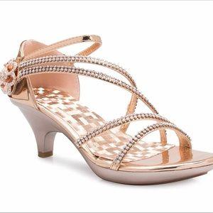 Rosegold Low Heel Rhinestone Sandals